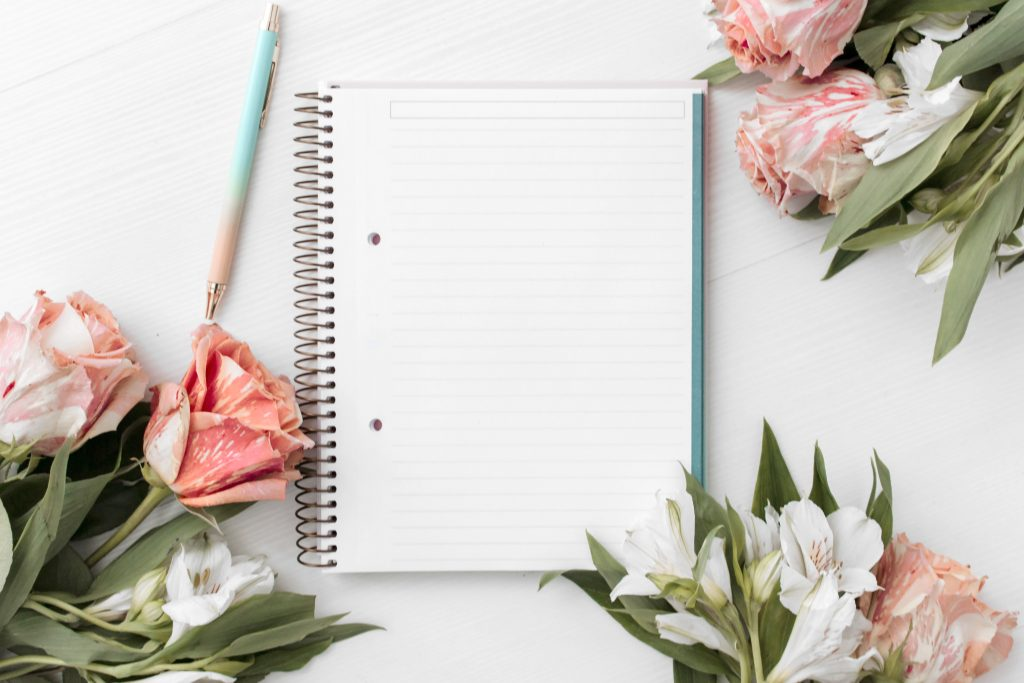 journal with pink flowers