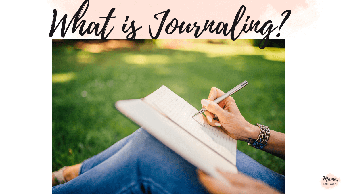 """""""What is Journaling?"""" person's knees writing in a jouranl"""