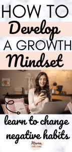 Text: How to Develop a Growth Mindset: Learn to Change Negative Habits - woman sitting at a desk with a computer drinking coffee