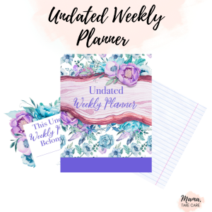 Undated Weekly Planner - Mock up of three planner pages, flowers, writing paper