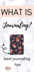 """""""What is Journaling?"""" text - blue journal with pink and red flowers"""
