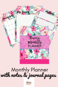 Undated Monthly Planner/Journal Pages: picture of floral planner cover page, notes page, calendar page, journal page